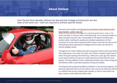 screenshot of the newly redesigned about page of Melissa Holobach's website