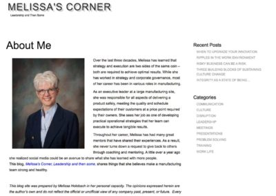 about me page from Melissa's site before it was redesigned