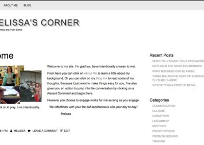 home page from Melissa's site before it was redesigned