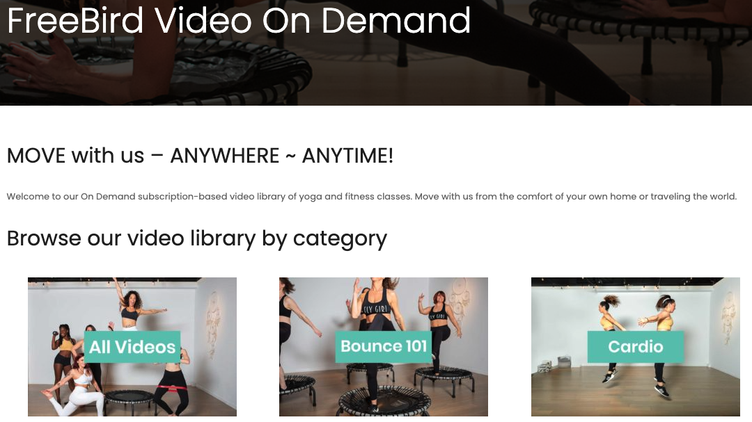 screenshot of the FreeBird Fitness video on demand landing page