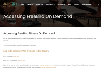 FreeBird Video on Demand user portal